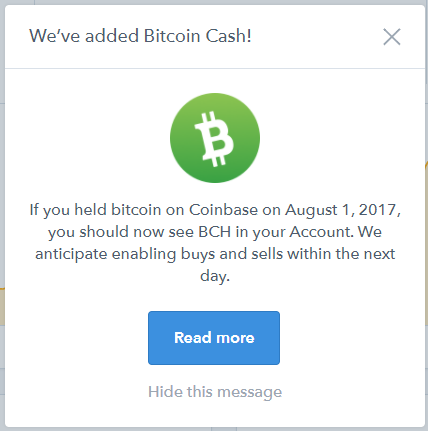 Coinbase bitcoin cash added to account
